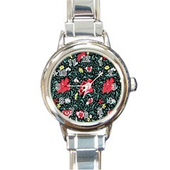 Vintage Floral Wallpaper Background Round Italian Charm Watch