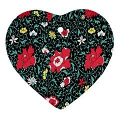 Vintage Floral Wallpaper Background Ornament (heart)
