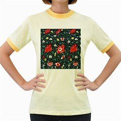 Vintage Floral Wallpaper Background Women s Fitted Ringer T Shirts