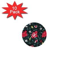 Vintage Floral Wallpaper Background 1  Mini Buttons (10 Pack)