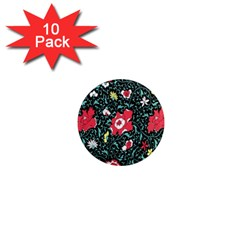 Vintage Floral Wallpaper Background 1  Mini Magnet (10 Pack)