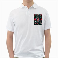 Vintage Floral Wallpaper Background Golf Shirts
