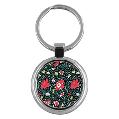 Vintage Floral Wallpaper Background Key Chains (Round)