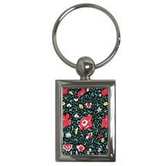 Vintage Floral Wallpaper Background Key Chains (Rectangle)