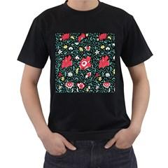 Vintage Floral Wallpaper Background Men s T Shirt (black) (two Sided)