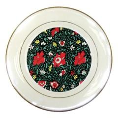 Vintage Floral Wallpaper Background Porcelain Plates