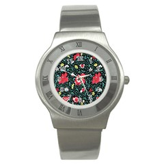 Vintage Floral Wallpaper Background Stainless Steel Watch