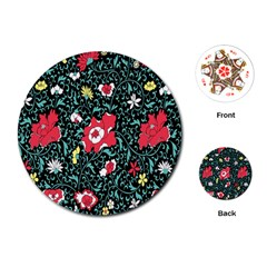 Vintage Floral Wallpaper Background Playing Cards (Round)