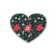 Vintage Floral Wallpaper Background Heart Coaster (4 pack)