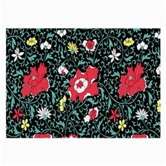 Vintage Floral Wallpaper Background Large Glasses Cloth (2 Side)