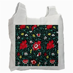 Vintage Floral Wallpaper Background Recycle Bag (Two Side)