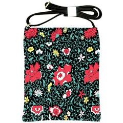 Vintage Floral Wallpaper Background Shoulder Sling Bags