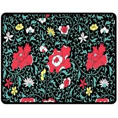Vintage Floral Wallpaper Background Fleece Blanket (Medium)