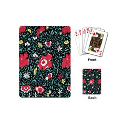 Vintage Floral Wallpaper Background Playing Cards (mini)