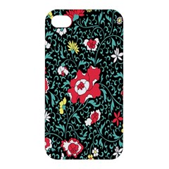 Vintage Floral Wallpaper Background Apple iPhone 4/4S Premium Hardshell Case