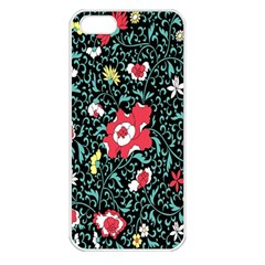 Vintage Floral Wallpaper Background Apple iPhone 5 Seamless Case (White)