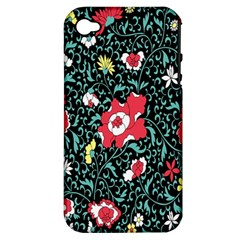 Vintage Floral Wallpaper Background Apple iPhone 4/4S Hardshell Case (PC+Silicone)