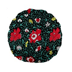 Vintage Floral Wallpaper Background Standard 15  Premium Round Cushions