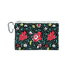 Vintage Floral Wallpaper Background Canvas Cosmetic Bag (S)