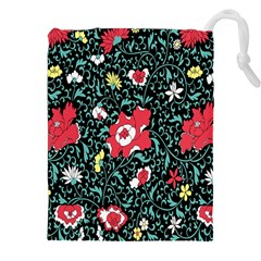 Vintage Floral Wallpaper Background Drawstring Pouches (XXL)