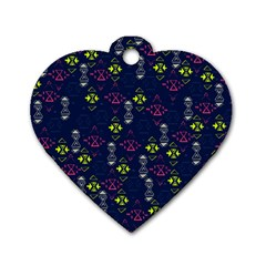 Vintage Unique Pattern Dog Tag Heart (Two Sides)