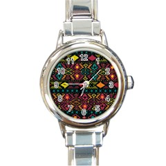 Traditional Art Ethnic Pattern Round Italian Charm Watch