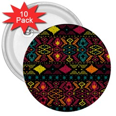 Traditional Art Ethnic Pattern 3  Buttons (10 pack)