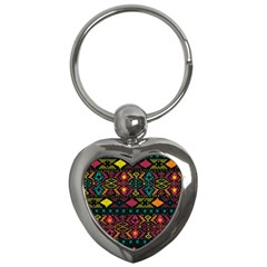 Traditional Art Ethnic Pattern Key Chains (heart)