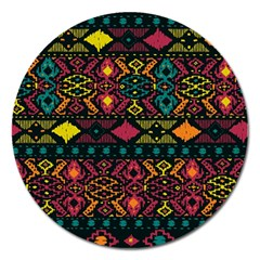 Traditional Art Ethnic Pattern Magnet 5  (round)