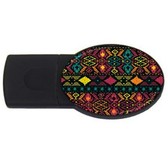 Traditional Art Ethnic Pattern Usb Flash Drive Oval (2 Gb)