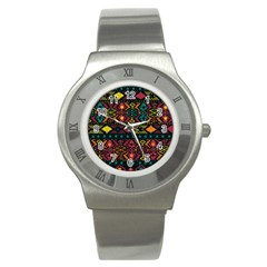 Traditional Art Ethnic Pattern Stainless Steel Watch