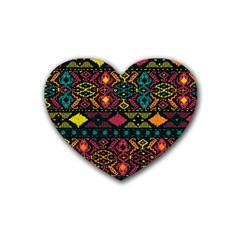 Traditional Art Ethnic Pattern Rubber Coaster (heart)