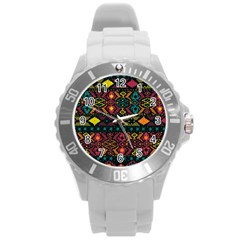 Traditional Art Ethnic Pattern Round Plastic Sport Watch (L)