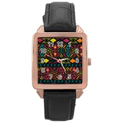 Traditional Art Ethnic Pattern Rose Gold Leather Watch