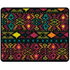Traditional Art Ethnic Pattern Double Sided Fleece Blanket (Medium)