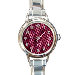Red Circular Pattern Background Round Italian Charm Watch