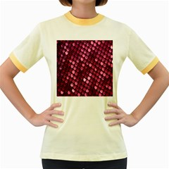 Red Circular Pattern Background Women s Fitted Ringer T Shirts