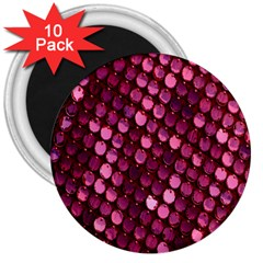 Red Circular Pattern Background 3  Magnets (10 pack)