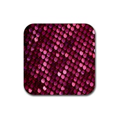 Red Circular Pattern Background Rubber Square Coaster (4 Pack)