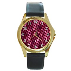 Red Circular Pattern Background Round Gold Metal Watch