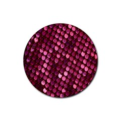 Red Circular Pattern Background Rubber Round Coaster (4 Pack)