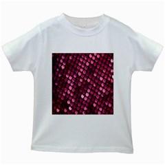 Red Circular Pattern Background Kids White T-Shirts
