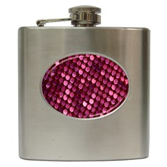 Red Circular Pattern Background Hip Flask (6 oz)