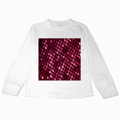 Red Circular Pattern Background Kids Long Sleeve T-Shirts