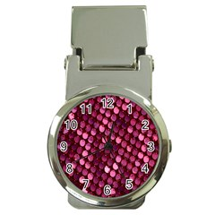 Red Circular Pattern Background Money Clip Watches
