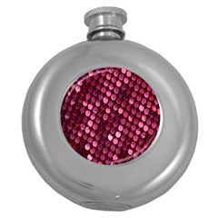 Red Circular Pattern Background Round Hip Flask (5 oz)