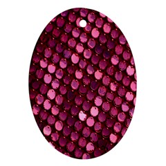 Red Circular Pattern Background Oval Ornament (two Sides)