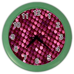 Red Circular Pattern Background Color Wall Clocks