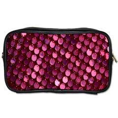 Red Circular Pattern Background Toiletries Bags 2 Side