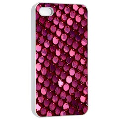 Red Circular Pattern Background Apple Iphone 4/4s Seamless Case (white)
